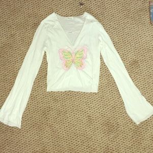 Vintage Cropped long sleeve butterfly shirt